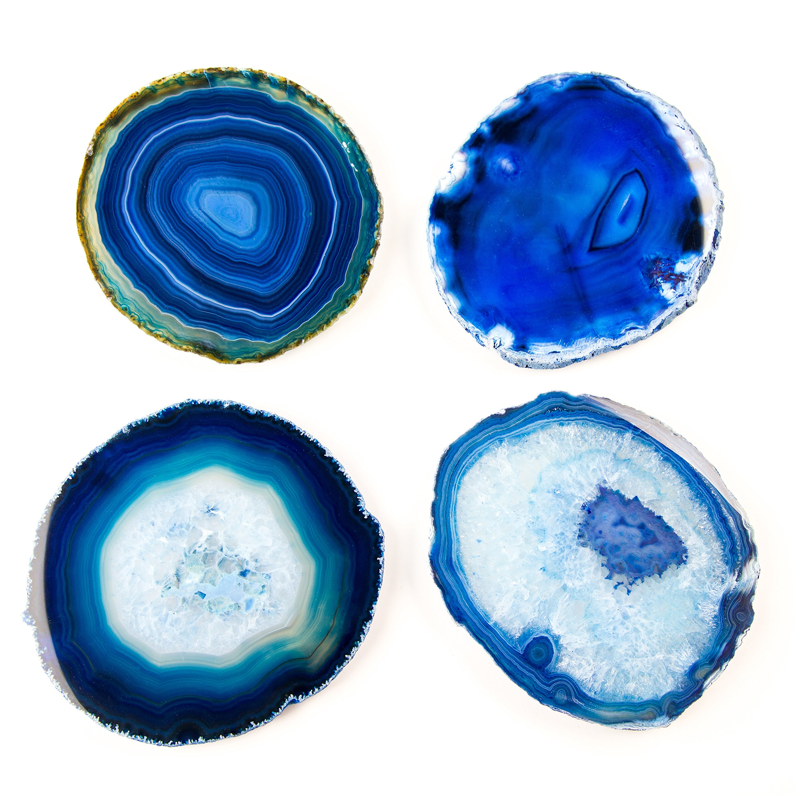 LARGE BLUE AGATE COASTERS Set of 4 Sliced Thick with Felt Bumper (4-5) | Authentic Handmade Brazilian coasters packaged in the USA by Babylon Agate (Image #3)