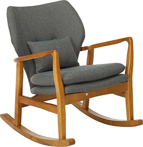 Christopher Knight Home Benny Mid-Century Modern Fabric Rocking Chair, Grey Light Walnut
