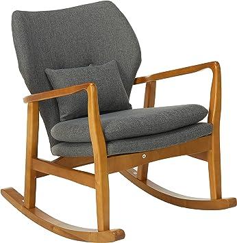 Amazon Com Christopher Knight Home Benny Mid Century Modern Fabric Rocking Chair Grey Light Walnut Furniture Decor