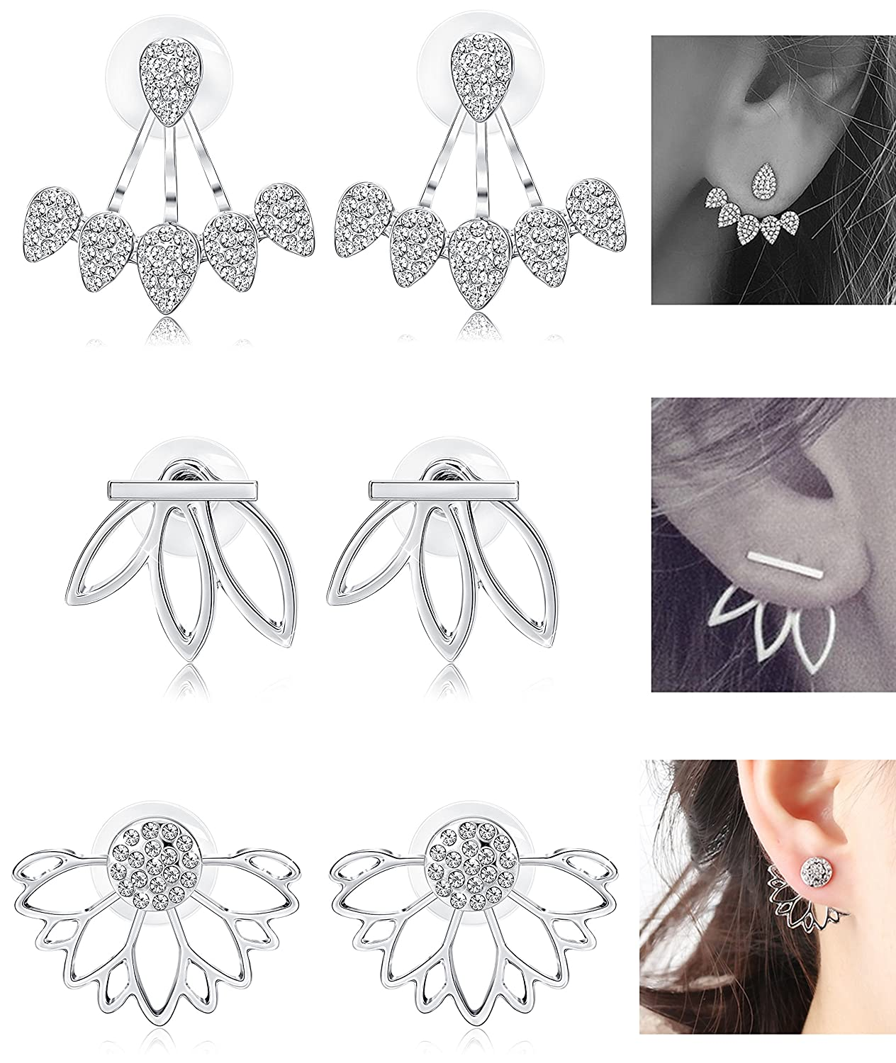 LOYALLOOK Hollow Lotus Earrings for Women Girls Fashion Flower Ear Jackets Crystal Simple Chic Stud Earrings Bar Stud Earrings Cuff Earrings Set DGE0006F