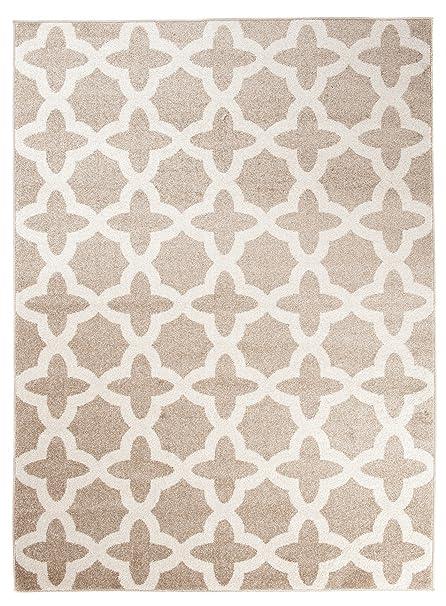 Grand - XL -Tapis de Salon Chambre - Beige Crème Blanc - Motif Oriental  avec Un Design Contemporain - Casablanca la Collection CARPETO 140 x 190 cm