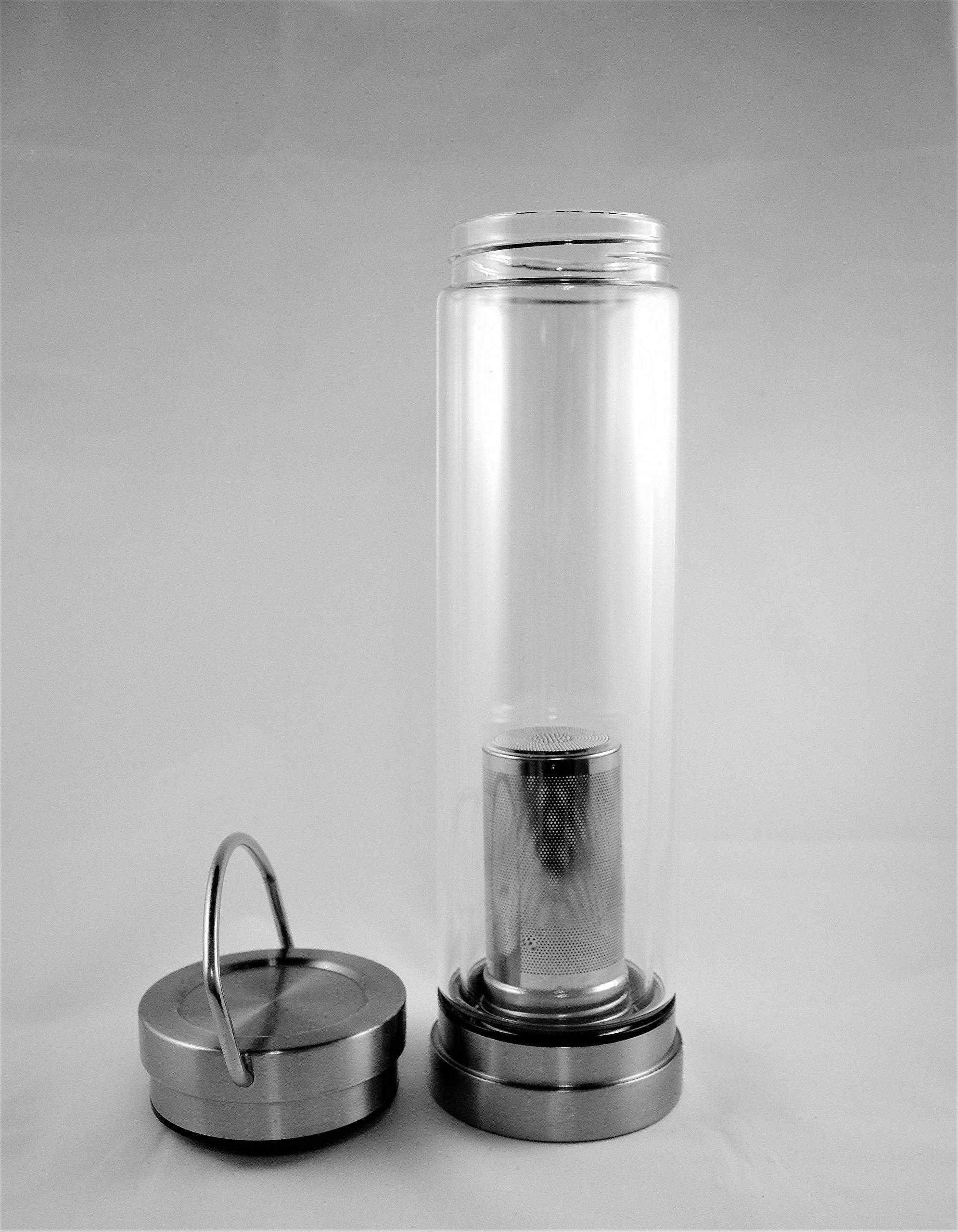 Batavia Customs House Tea Infuser - Double-Walled Glass Tea Bottle with Infusion Chamber by Batavia Customs House