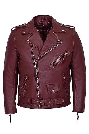 Brando Cherry Red Men S Classic Design Motorcycle Biker Cowhide