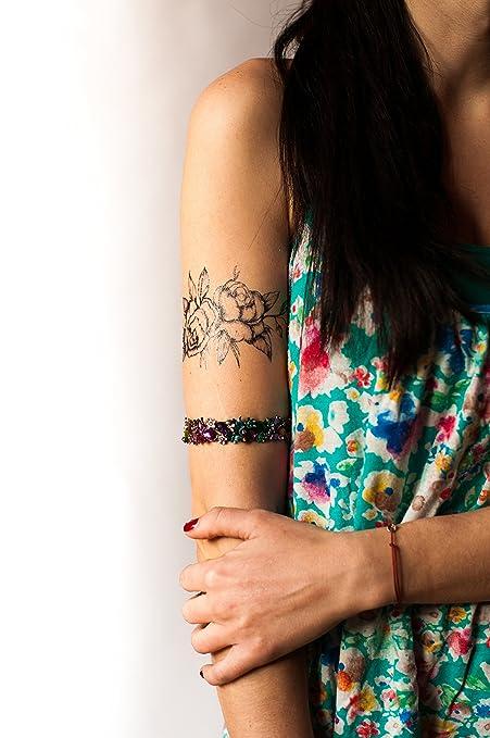 b9dfd2d47 Amazon.com : Black Roses Flower Temporary Tattoo - Realistic Body Art -  Friend Gift - Accessory - Set of 2 Tattoos Prints, Size 3