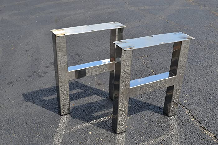 Polished Stainless Chrome Table Legs, H Frame Style   Any Size!