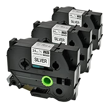 3 Schriftbänder kompatibel zu Brother P-Touch TZE-FX751 8m//24mm Schwarz auf Grün