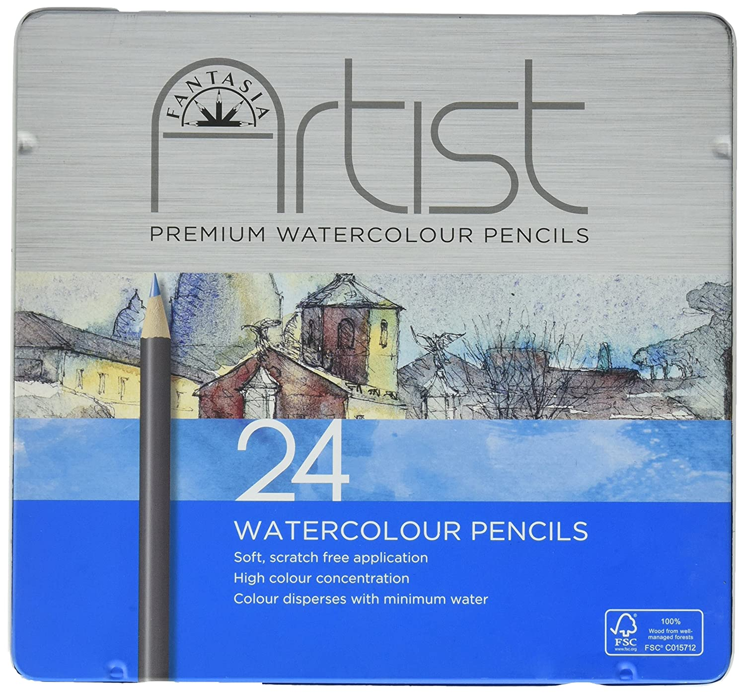 Pro-Art Fantasia Premium Watercolor Pencil Set 24pc-, Other, Multicoloured Notions Marketing 601320