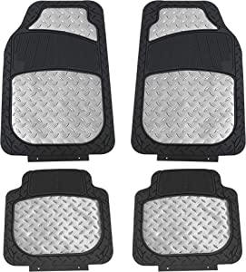 FH Group F11315SILVER Silver Floor Weather Rubber Mats for Cars, Trucks, and SUVs, Universal Trim to Fit Design