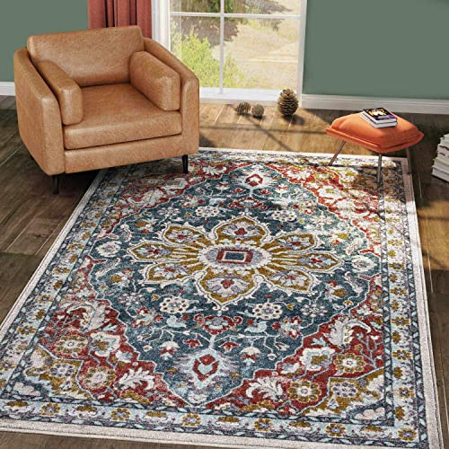 KSANA 8mm Pile Height with Jute Backing Medallion Carpet for Living Room, Bedrooms, Kitchens, 5 7 x 9 , Collection-7