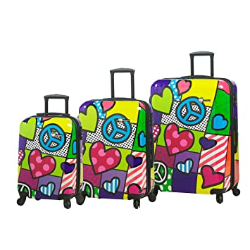 58e46eeaa Amazon.com   Mia Toro Peace and Love Luggage 3 Piece Set, Contemporary   Luggage  Sets