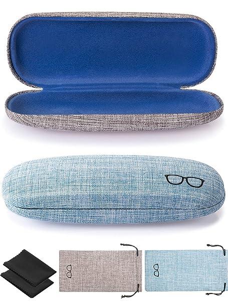 Amazon.com: Funda rígida para gafas, 2 piezas, funda de tela ...