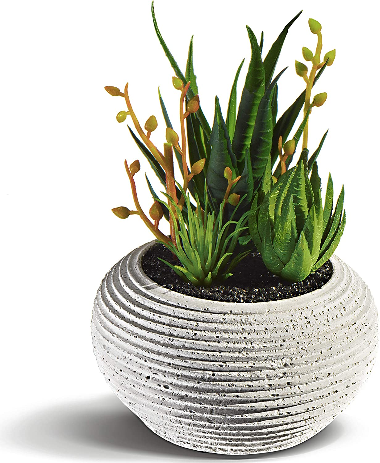 Succulents Artificial Plants in Cement Pots - Fake Plants of Realistic Look (5 PCS) - Small Artificial Plants in Pots for Home Decor Indoor - Fake Succulents for Home and Office Interior - Faux Plants