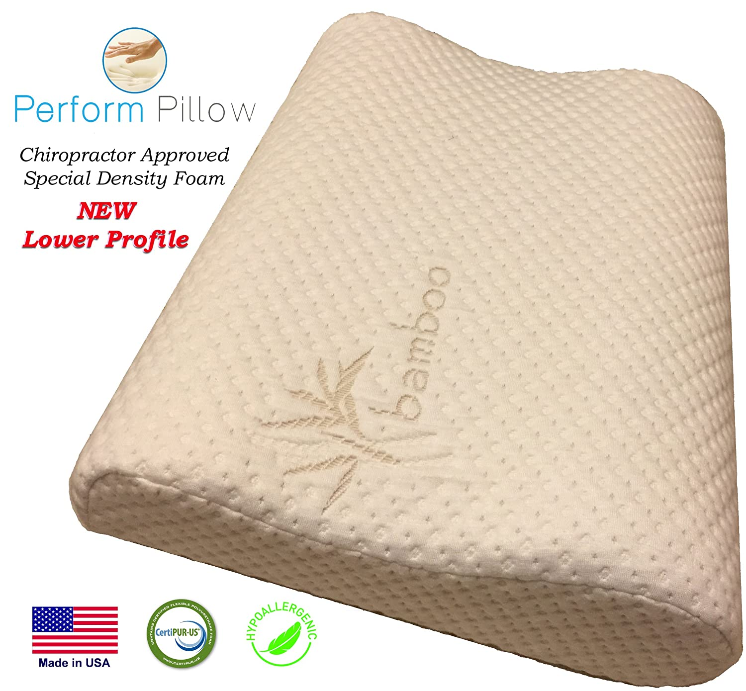 71b0657dea8e9 Thin Profile Memory Foam Neck Pillow - Orthopedic Contour - Chiropractor  Designed and Approved - Soft Bamboo Cover - Made in USA - Great for Neck  Pain
