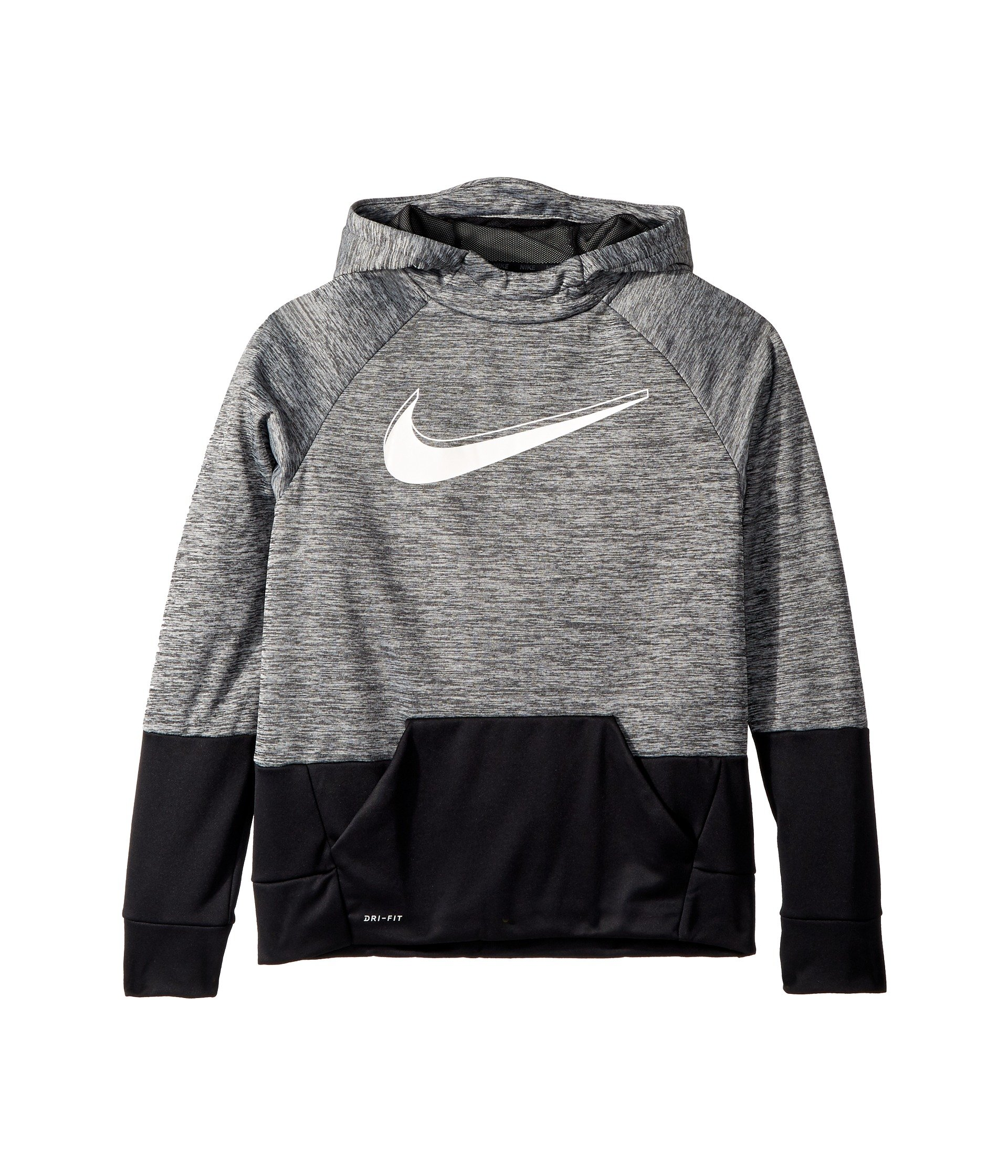 Nike Boy's Therma Heathered Graphic Hoodie (Black/Black, Small)