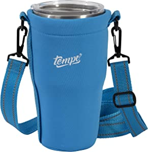 Tumbler Carrier Holder for 30oz - 32oz Tumblers, Reusable Tumbler Holder Pouch for Iced Coffee Cup, Neoprene Insulated Hand Carrying Cover Sleeve Bag w/Handle, Adjustable Shoulder Strap, Blue