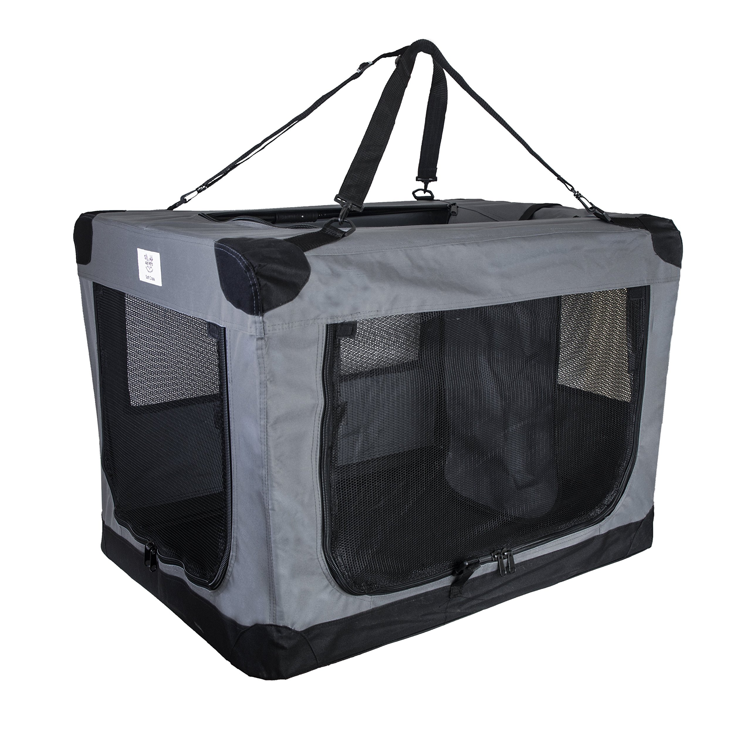 Arf Pets Dog Soft Crate 36 Inch Kennel for Pet Indoor Home & Outdoor Use - Soft Sided 3 Door Folding Travel Carrier with Straps by Arf Pets (Image #5)