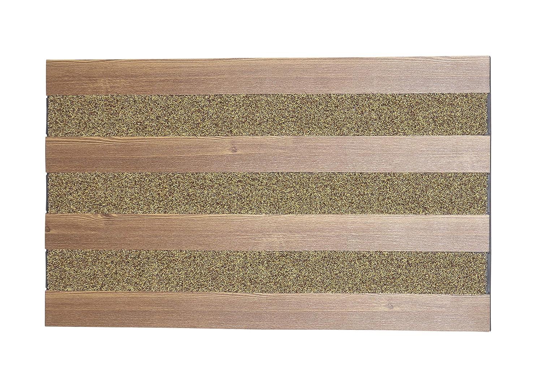 Harman Outdoor Wood Stripe Doormat Rubber//Vinyl Non-Slip 18 x 30 Natural