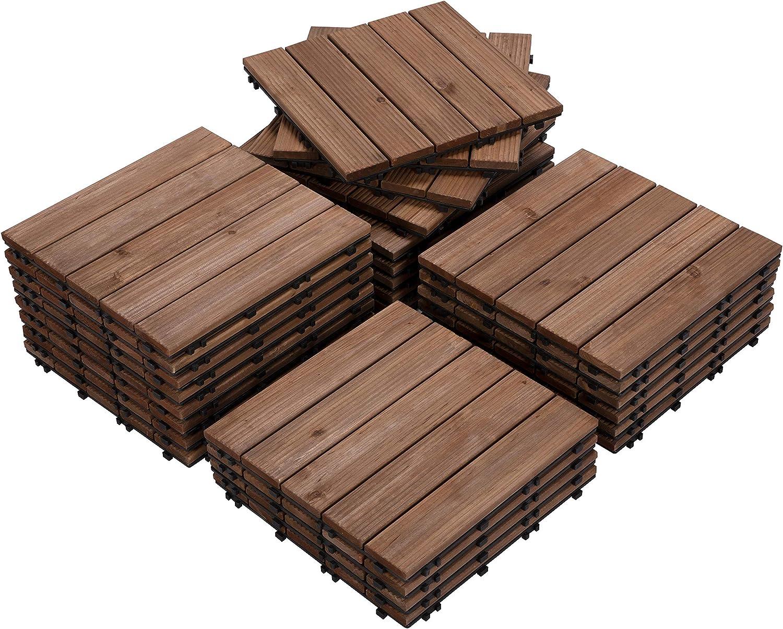 Amazon Com Yaheetech Interlocking Patio Deck Tiles 12 X 12in 27pcs Wood Floor Outdoor Flooring For Garden Poolside Brown Home Improvement