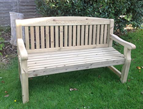Fantastic 5Ft Engraved Softwood Park Bench Amazon Co Uk Garden Caraccident5 Cool Chair Designs And Ideas Caraccident5Info