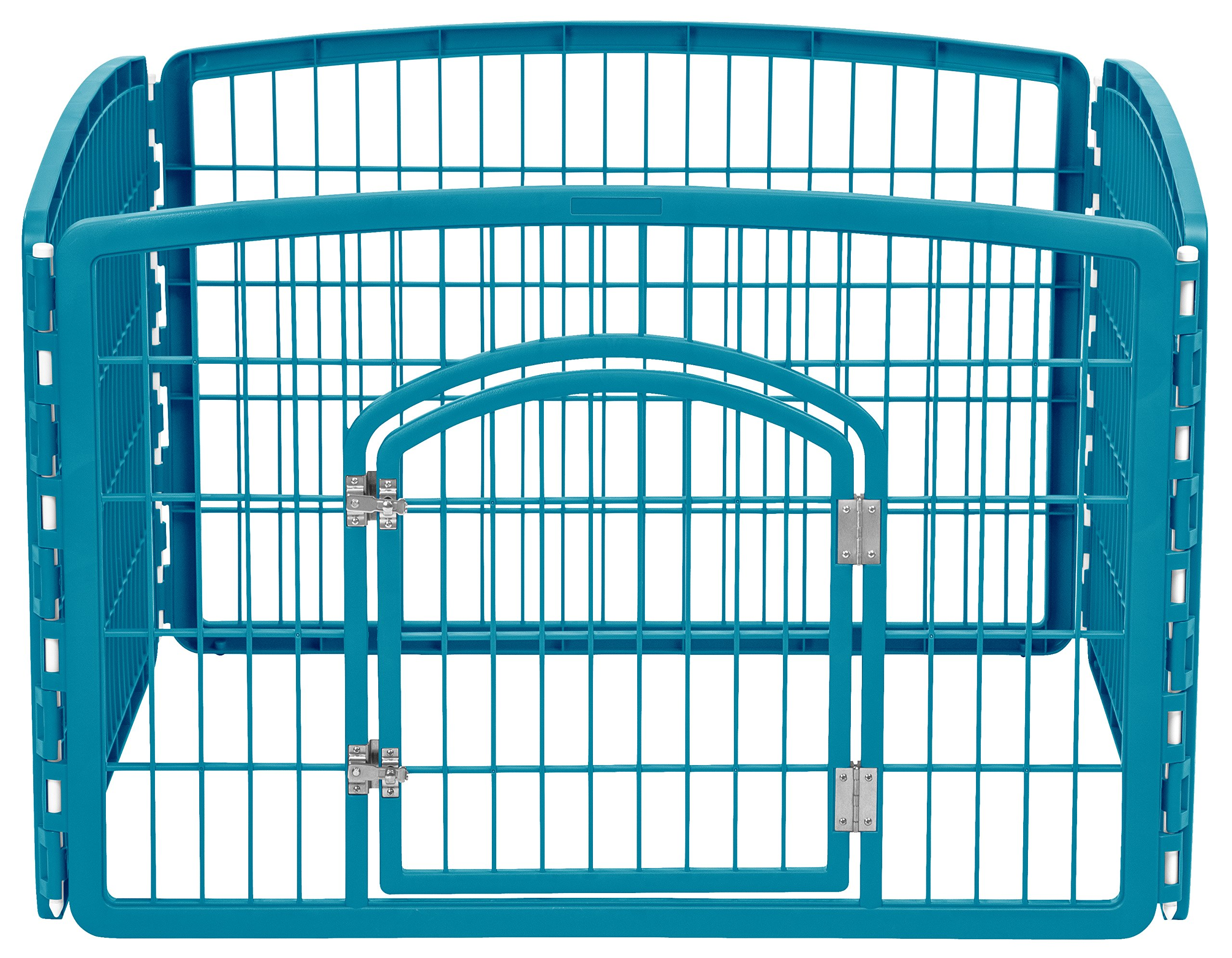 IRIS Pet Playpen with Door 24-Inch Blue 4 Panel Pen