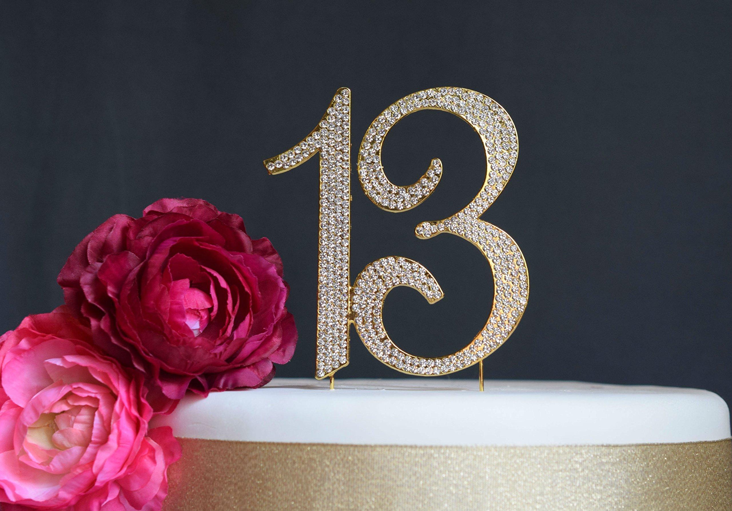 13 GOLD Cake Topper | Premium Bling Crystal Rhinestone Diamond Gems | 13th Birthday or Anniversary Party Decoration Ideas | Quality Metal Alloy | Perfect Keepsake (13 Gold)