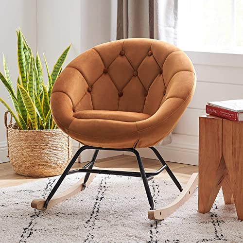Volans Mid Century Modern Round Back Velvet Tufted Upholstered Rocking Chair Padded Seat