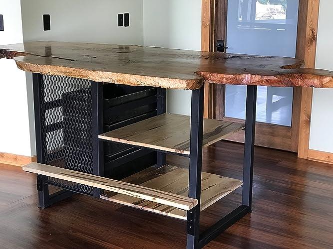 Amazon Com Live Edge Home Bar Industrial Slab Bar Industrial Live