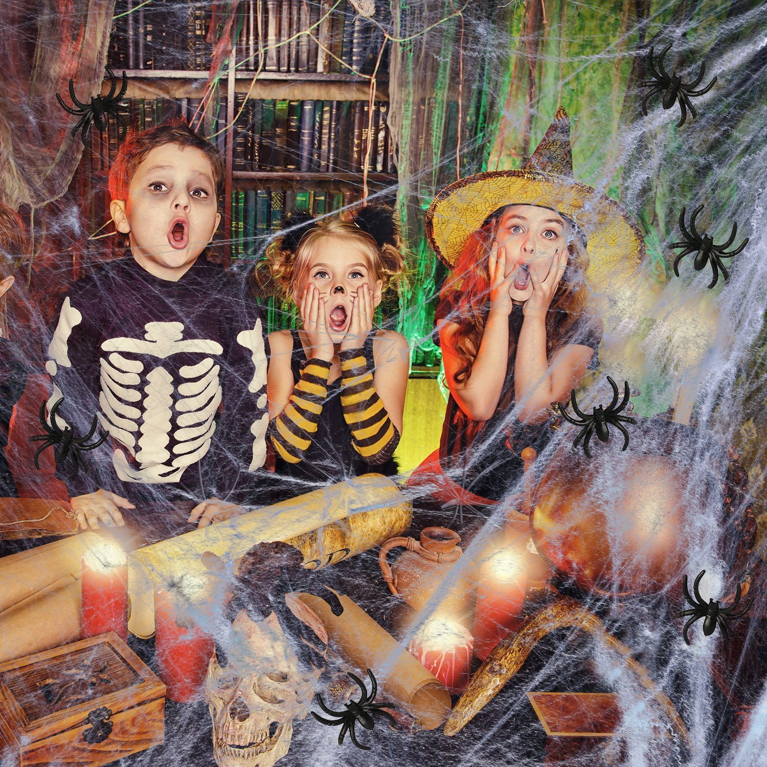 AOSTAR Halloween Stretch Spider Webs Indoor & Outdoor ...