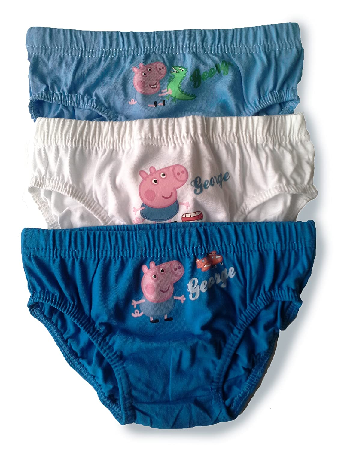 Boys Peppa Pig George Pants Briefs Underpants Underwear Slips - 3 Pack - Official Licenced 100% Cotton