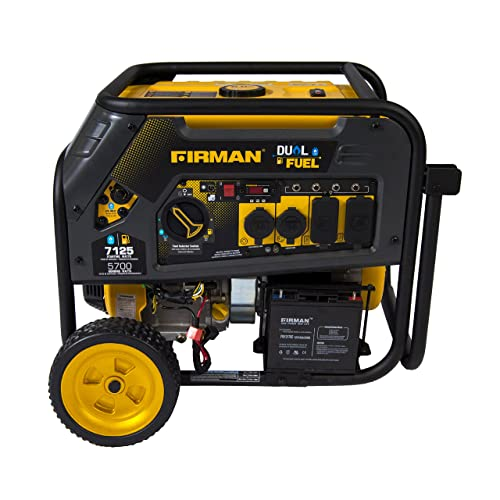 Firman H05751 7125 5700 Watt 120 240V Electric Start Gas or Propane Dual Fuel Portable Generator CARB Certified With Wheel Kit