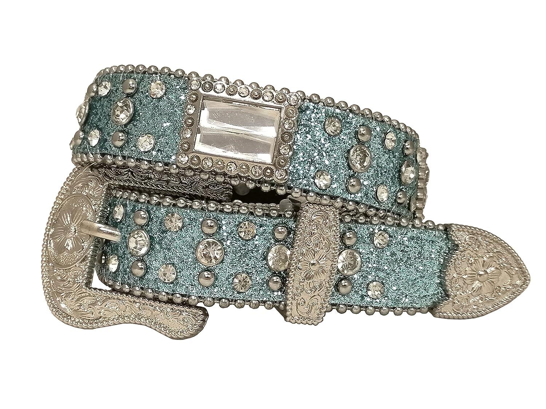 Kids Western Cowboy Cowgirl Ostrich/Crocodile/Glisten Strap Rectangular Rhinestone Studded Shiny Belt 186073 (K8607)
