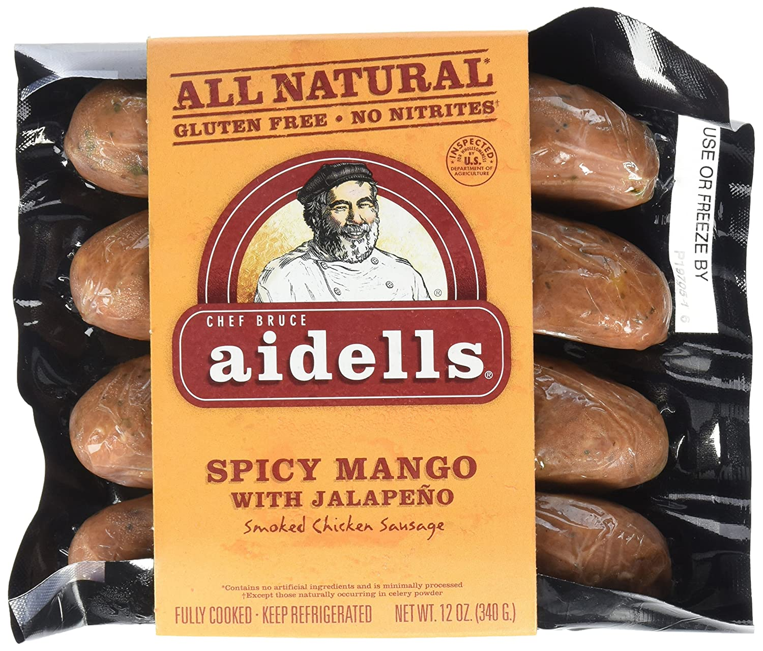 Aidells Smoked Chicken Sausage, Spicy Mango with Jalape?o, 12 oz. (4 Fully Cooked Links): Amazon.com: Grocery & Gourmet Food