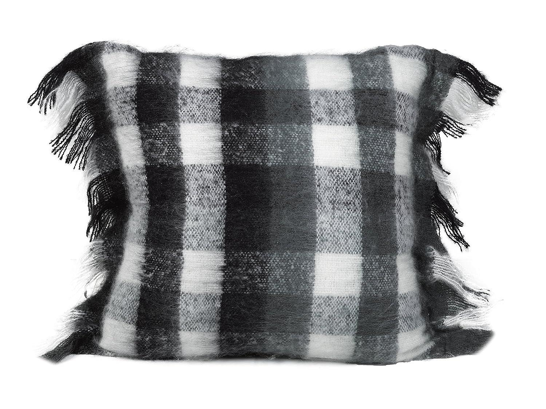 Urban Loft by Westex Mohair Plaid Black, White & Grey Feather Filled Decorative Throw Pillow Cushion, 20x20 20x20 Westex International 651267