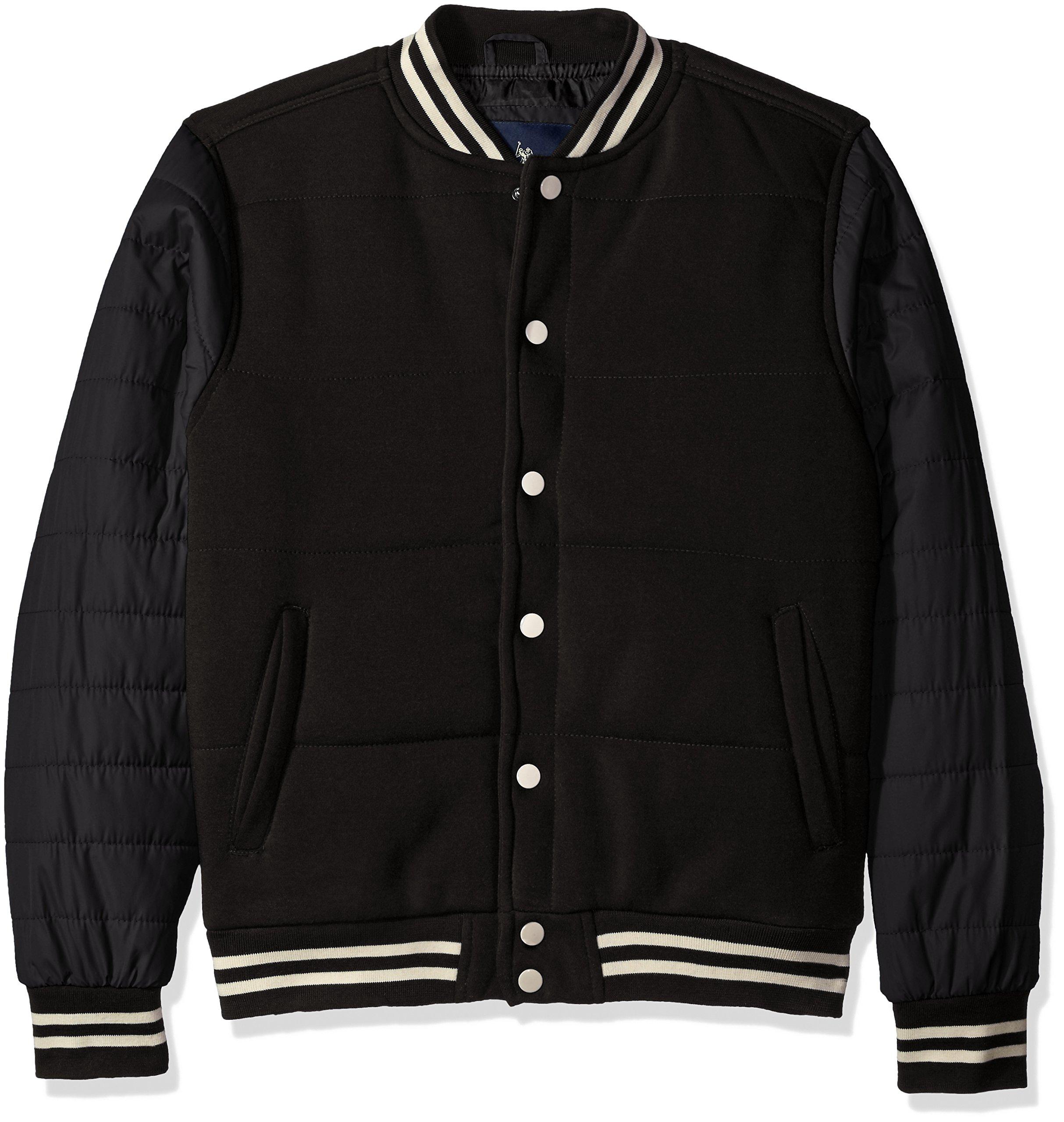 U.S. Polo Assn. Men's Baseball Fleece Jacket With Shell Sleeves, Black, L by U.S. Polo Assn.