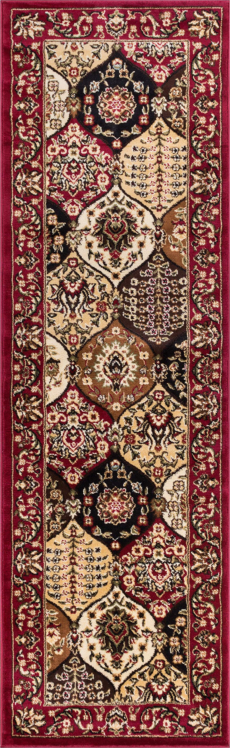 Dynasty Panel Red Multi Oriental Floral Geometric Modern Rug 3x10 ( 2'7'' x 9'6'' Runner ) Easy to Clean Stain Fade Resistant Shed Free Contemporary Formal Lattice Trellis Soft Living Dining Room Rug