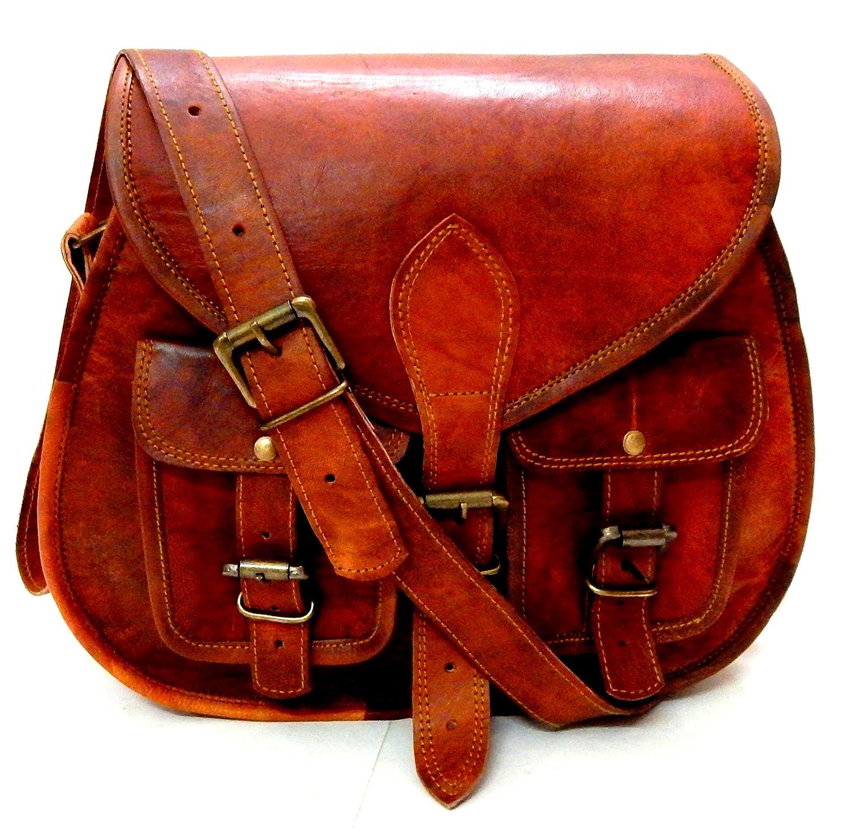 8d803c6dcb26 Firu-Handmade Women s Saddle Crossbody Bag Vintage Rustic Retro Style  Genuine Brown Leather Travel Handmade Purse  Handbags  Amazon.com