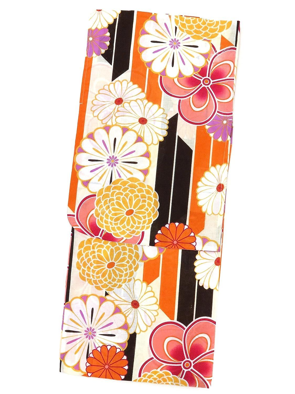 浴衣 レディース Sサイズ 小さいサイズ レトロ モダン 女性 浴衣 Sサイズ 選べる色柄(赤 オレンジ 生成り 青) TYS B07D3Q5JND オレンジ系×ねじり桜に菊 オレンジ系×ねじり桜に菊