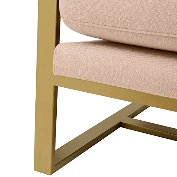 Rivet Charlotte Modern Brass Accent Chair, Dusty Rose