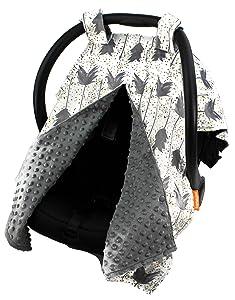 Dear Baby Gear Deluxe Car Seat Canopy, Custom Minky Print, Grey Arrows on Confetti, Grey Minky Dot