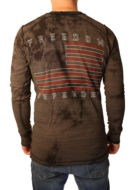 Affliction Full Metal Jacket Freedom Defender Long Sleeve G.I Foundation Graphic Fashion Reversible Thermal For Men