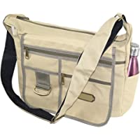 NISUN Imported Jeans Cross Body One Side Bag For Travel College Office 13x4.5x10 inch Beige