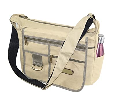 b50faa76769bb NISUN Imported Jeans Cross Body One Side Bag For Travel College Office  13x4.5x10 inch Beige  Amazon.in  Shoes   Handbags