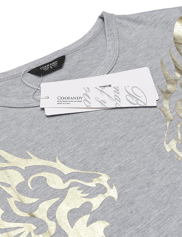 4bdb044dae58c8 COOFANDY Men s Hipster Hip Hop T-Shirt Short Sleeve Dragon and Rose Graphic  Print Tees Shirt