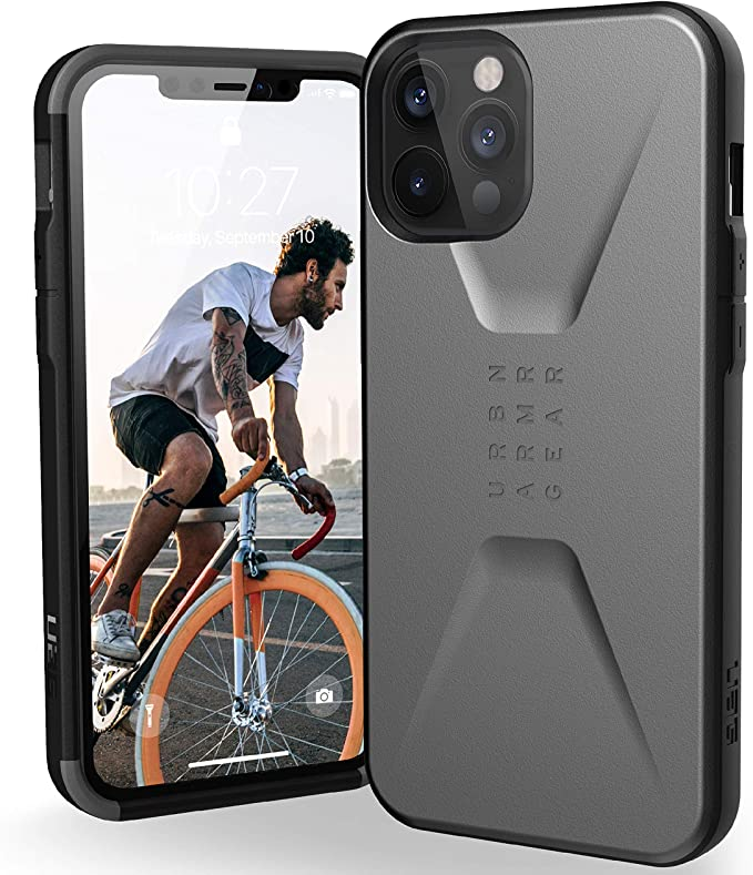 Urban Armor Gear UAG iPhone 12 Pro Max 5G - (6.7 inch) Sleek Ultra-Thin Shock-Absorbent Civilian Protective Cover, Silver: Amazon.co.uk: Electronics