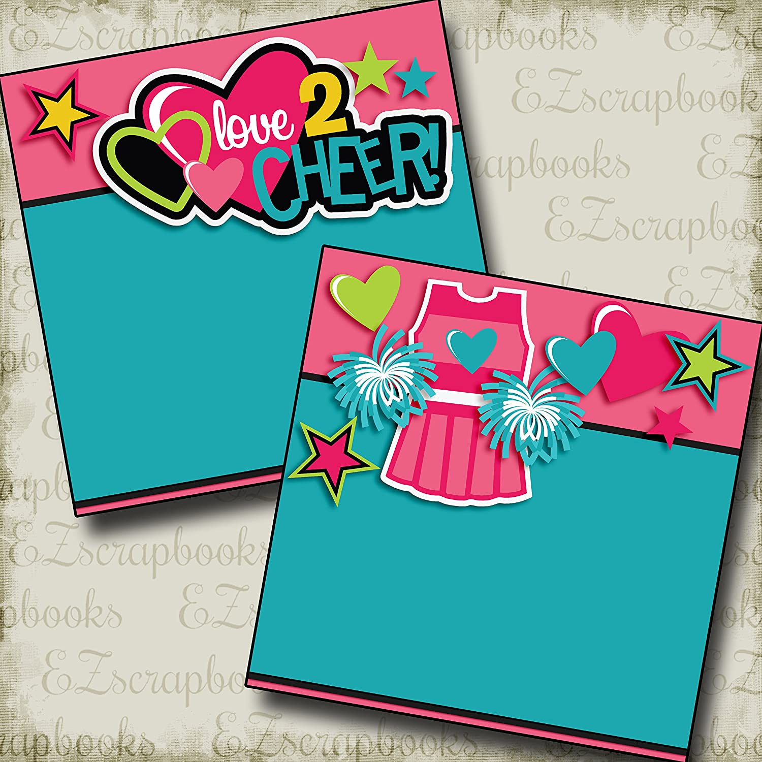 I LOVE CHEER Non-Photo-Mat EZ Layout 2561 Premade Scrapbook Pages