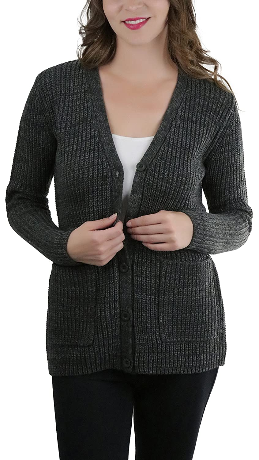 06b1d685947 ToBeInStyle Women's Knitted Acrylic Button Up Cardigan Sweater