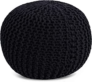 BIRDROCK HOME Round Pouf Foot Stool Ottoman - Knit Bean Bag Floor Chair - Cotton Braided Cord - Great for The Living Room, Bedroom and Kids Room - Small Furniture (Black)