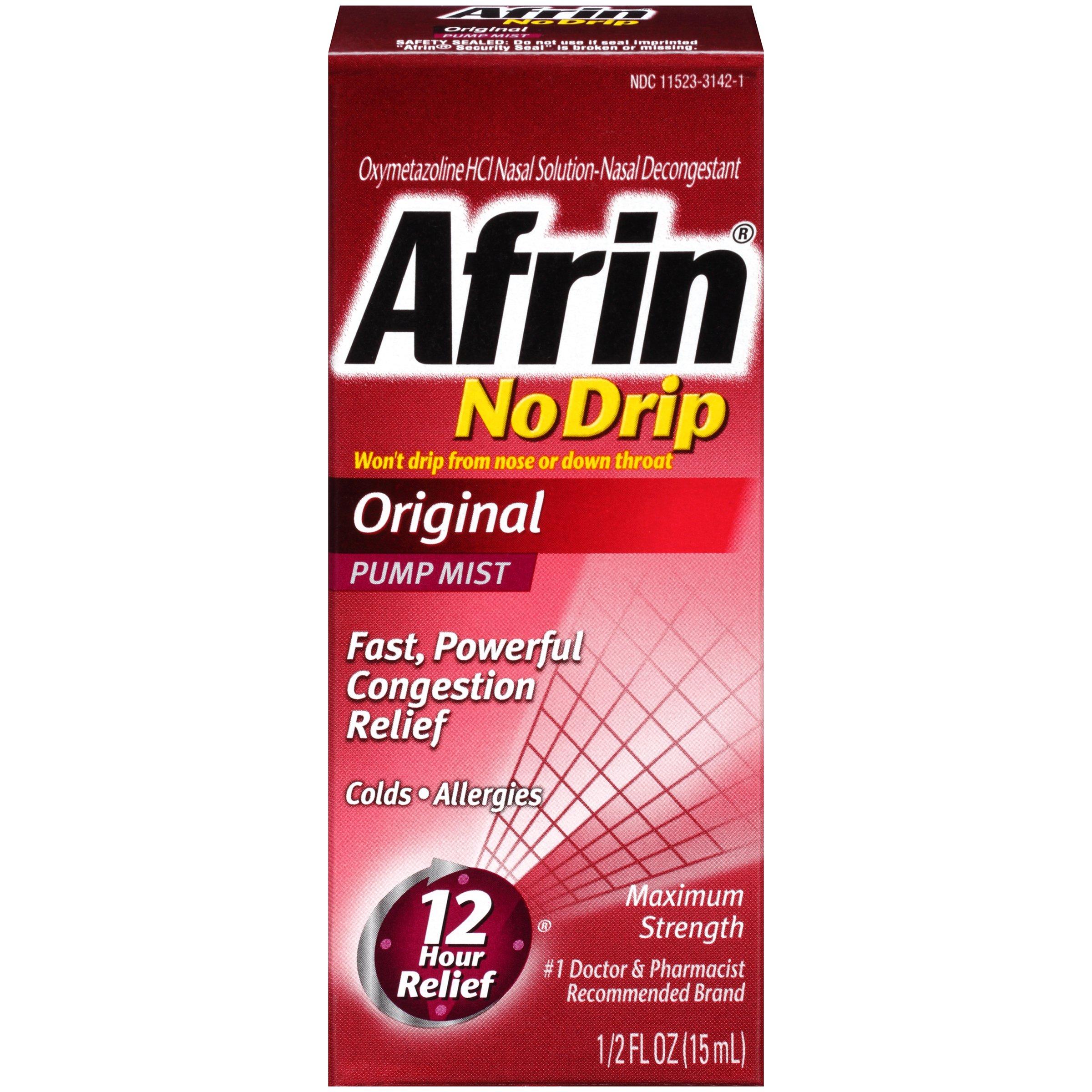 Afrin 12 Hour Nasal Decongestant Pump Mist, No Drip - .5 fl oz