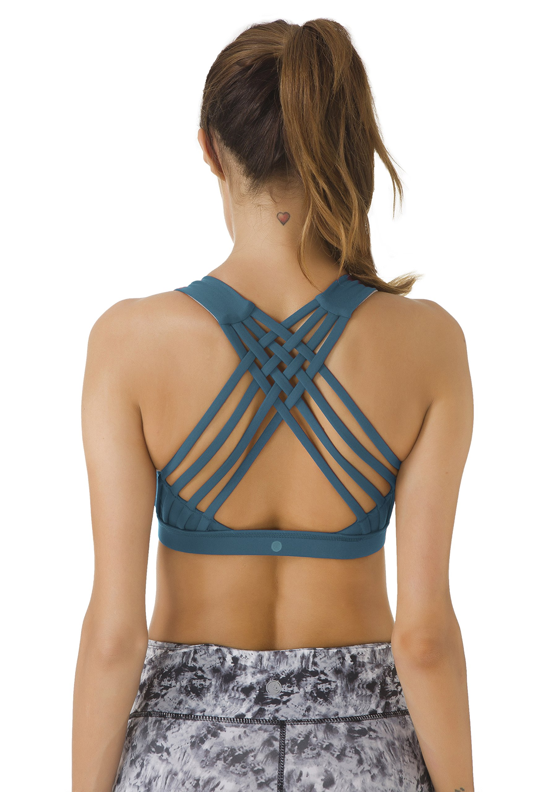578433a9b3 Galleon - Queenie Ke Women s Medium Support Strappy Back Energy Sport Bra  Cotton Feel Size XL Color Teal