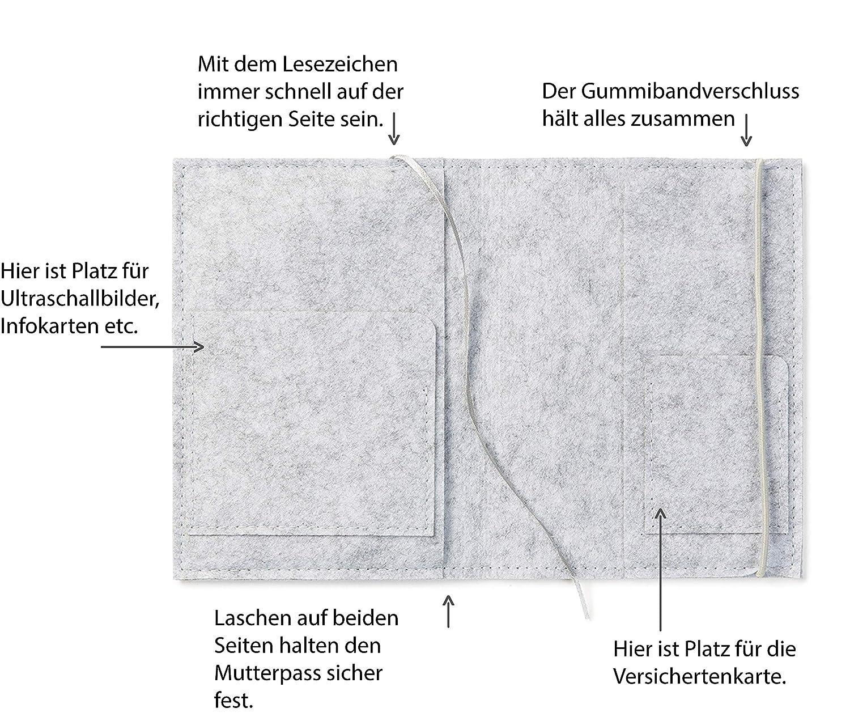 Farbe w/ählbar Design H/ülle f/ür deutschen Mutterpass mit Gummiband Mutterpassh/ülle Herzblumen aus Filz blau